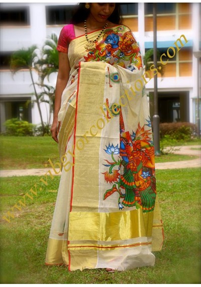 RADHA MADHAVAM 2  - Hand Painted Mural tissue Silk Saree
