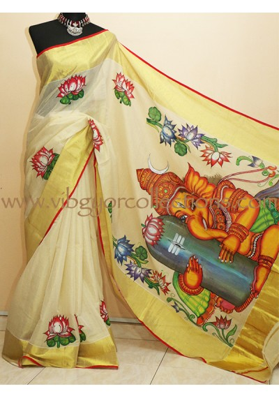 GANESHA - Hand Painted Pure Tissue Silk Saree
