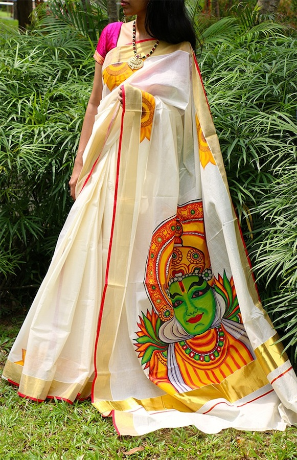 Kathakali mukham hand painted kerala saree for Design a mural online