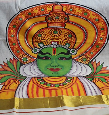 Mural hand painted saree in handloom kasavu kathakali dancer for Buy kerala mural paintings online