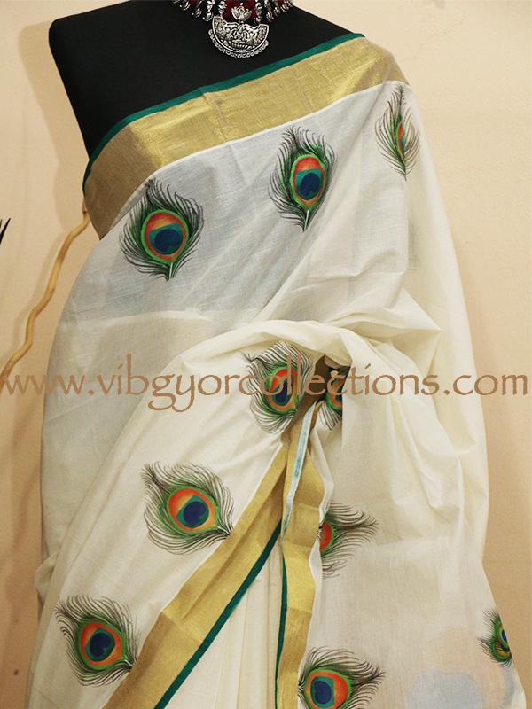 RADHA KRISHNA - Handpainted Kerala Handloom saree  RADHA KRISHNA -...