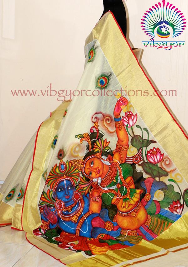 Mural handpainted sarees for Average cost of mural painting