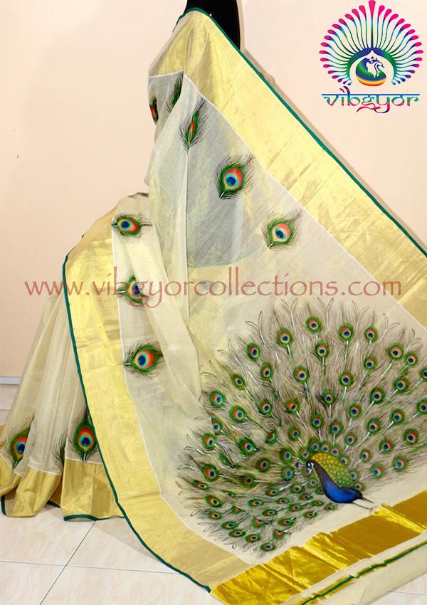 Mural handpainted sarees for Asha mural painting guruvayur