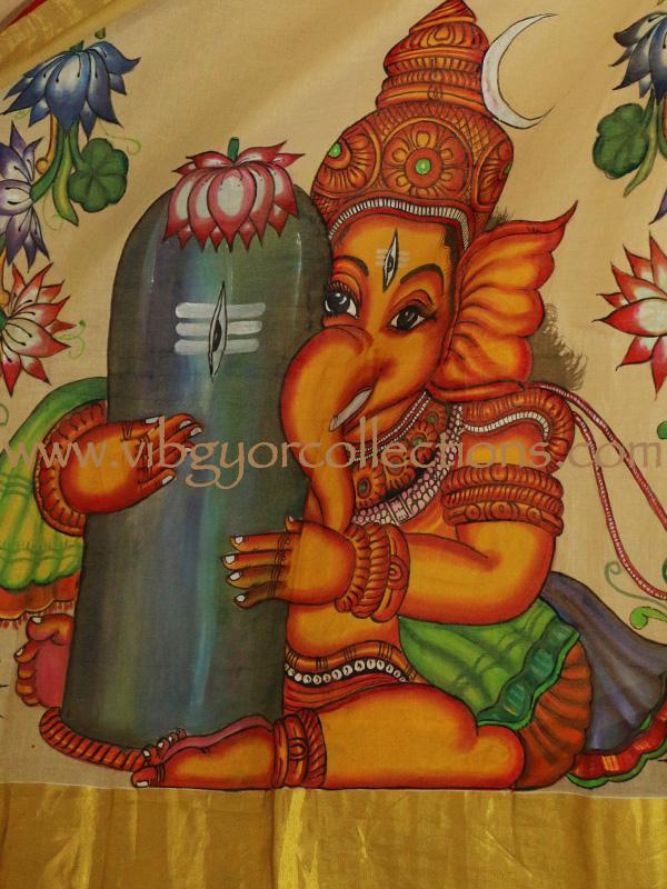 Hand painted kerala saree in pure tissue silk lord ganesha for Mural ganesha