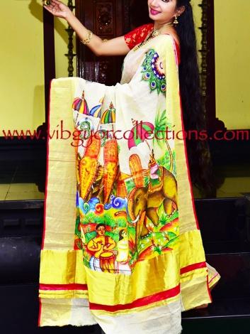 UTSAVAM - Hand Painted Saree on Pure Tissue Silk Saree