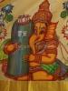 HAND PAINTED KERALA SAREE IN PURE TISSUE SILK- LORD GANESHA