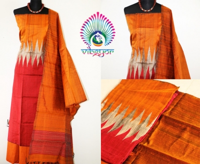 PURE RAW SILK IN MAROON WITH TEMPLE DESIGNED PANEL UNSTICHED SALWAR MATERIAL