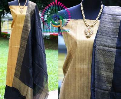 PURE GEECHA SILK IN DULL GOLD UNSTICHED SALWAR MATERIAL