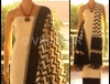 A BEAUTIFUL UNSTICHED SALWAR MATERIAL WITH BLACK AND WHITE IKKAT DUPATTA