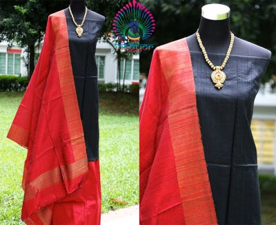 PURE RAW SILK IN BLACK UNSTICHED SALWAR MATERIAL