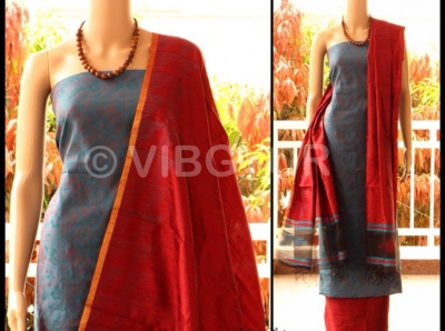 CHANDERI UNSTICH MATERIAL WITH RAW SILK DUPATTA