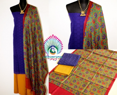 BLUE COTTON JAQUARD UNSTICHED SALWAR MATERIAL