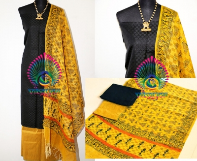 A BEAUTIFUL SALWAR MATERIAL IN YELLOW AND BLACK COMBINATION WITH WARLI PRINTED DUPATTA