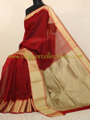 HANDWOVEN CHANDERI SAREE IN MAROON WITH THICK BORDER