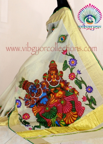 RADHA MADHAVAM - Hand Painted Mural tissue Silk Saree