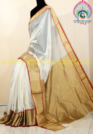 HANDWOVEN CHANDERI SAREE WITH THICK ZARI BORDER