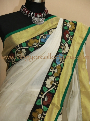 KERALA KASAVU SAREE WITH PEN KALAMKARI PALLU AND BORDER