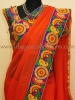 ORANGE GEORGETTE KUTCH EMBROIDERY SAREE