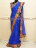 BLUE GEORGETTE KUTCH EMBROIDERY SAREE