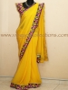 YELLOW GEORGETTE KUTCH EMBROIDERY SAREE