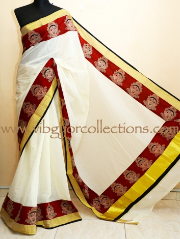 KERALA KASAVU SAREE WITH PEN KALAMKARI BORDER
