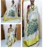 MAYOORANADANAM - The Dancing Peacock Painting done on Kerala kasavu pure cotton saree