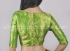 Readymade Green Silk Brocade Blouse with Floral Motifs