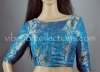 Readymade Firozi Blue Brocade Blouse with Floral Motifs
