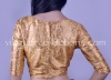 Readymade Golden Brocade Blouse with Floral Motifs