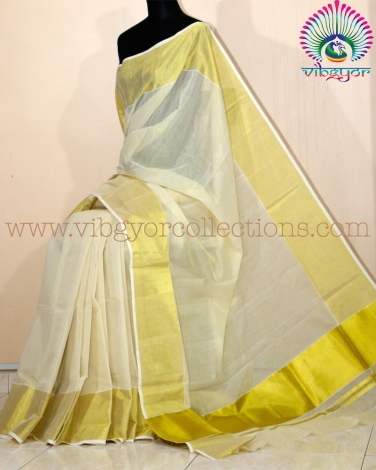 "KERALA TRADITIONAL KASAVU TISSUE SILK SAREE -  6"" BORDER"